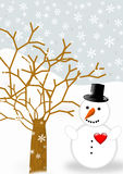 Greeting card with one snowman Stock Photography