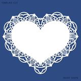 Greeting card with openwork border, paper doily under the cake, template for cutting in the form of heart, valentine card, weddin. G invitation, decorative plate royalty free illustration