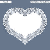 Greeting card with openwork border, paper doily under the cake, template for cutting in the form of heart, valentine card,  weddin Stock Images