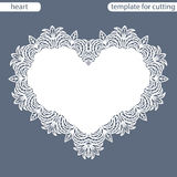 Greeting card with openwork border, paper doily under the cake, template for cutting in the form of heart, valentine card,  weddin Royalty Free Stock Images