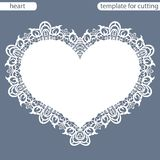 Greeting card with openwork border, paper doily under the cake, template for cutting in the form of heart, valentine card,  weddin Stock Photo