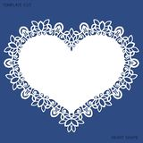 Greeting card with openwork border, paper doily under the cake, template for cutting in the form of heart, valentine card, weddin. G invitation, decorative plate stock illustration