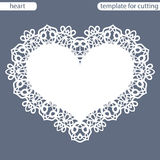 Greeting card with openwork border, paper doily under the cake, template for cutting in the form of heart, valentine card Royalty Free Stock Photos