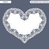 Greeting card with openwork border, paper doily under the cake  Royalty Free Stock Images