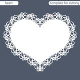 Greeting card with openwork border, paper doily under the cake, template for cutting in the form of heart, valentine card. Wedding invitation, decorative plate royalty free illustration