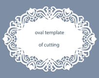 Greeting  card with openwork  oval border, paper doily under the cake, template for cutting, wedding invitation, decorative plate. Is laser cut, vector Royalty Free Stock Images