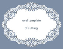 Greeting  card with openwork  oval border, paper doily under the cake, template for cutting Royalty Free Stock Photo