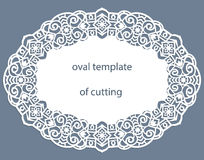 Greeting  card with openwork  oval border, paper doily under the cake, template for cutting, wedding invitation, decorative plate Royalty Free Stock Photo