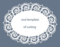 Greeting  card with openwork  oval border, paper doily under the cake, template for cutting, wedding invitation, decorative plate Royalty Free Stock Photos