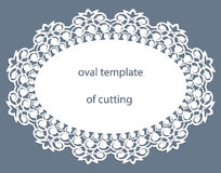 Greeting card with openwork oval border, paper doily under the cake, template for cutting, wedding invitation, decorative plate. Is laser cut, vector royalty free illustration