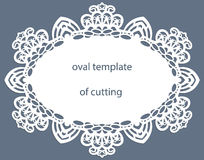 Greeting card with openwork oval border, paper doily under the cake, template for cutting, wedding invitation, decorative plate. Is laser cut, vector vector illustration