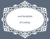Greeting  card with openwork  oval border, paper doily under the cake, template for cutting, wedding invitation, decorative plate Stock Photography