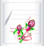 Greeting card with orchids and pen. Three pink orchids with silver pen Royalty Free Stock Images