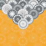 Greeting card with oriental ornaments. Orange vector illustration