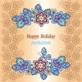 Greeting card in oriental style. Suitable for birthday cards, invitations.  royalty free illustration