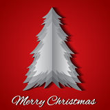 Greeting card with origami Christmas tree and wish Royalty Free Stock Photo