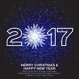 Greeting card with Origami White Snowflake. 2017 Greeting card with Origami White Snowflake and Merry Christmas and Happy New Year dark blue background. Vector Royalty Free Stock Images