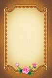 Greeting Card with Ornamental Background and Frame Stock Photo