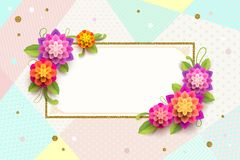 Greeting card with ornamental frame and flowers. Royalty Free Stock Images
