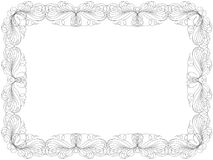 Greeting card with swirl floral frame. Greeting card with ornamental swirl floral frame isolated on the white background, vector illustration Stock Photography