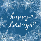 Greeting Card With Ornate Snowflakes And Handlettering Royalty Free Stock Photography