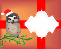 Greeting card with owl Royalty Free Stock Photo