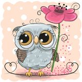 Greeting card Owl with floweron a pink background