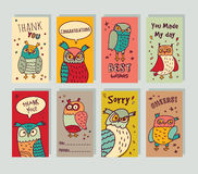 Greeting card owls and signs set. Stock Image