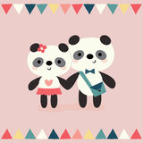 Greeting card pandas in love on peach with bunting flags Royalty Free Stock Images
