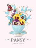 Greeting card with pansies Royalty Free Stock Photo