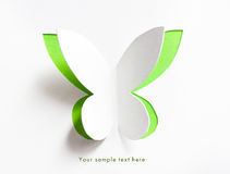 Greeting card with paper butterfly Stock Image