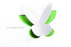 Greeting card with paper butterfly Royalty Free Stock Image