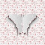 Greeting card with paper butterfly on the hand drawn background. Stock Images