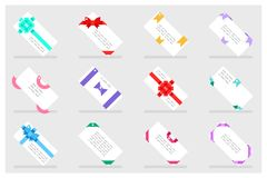 Greeting card paper gift bows ribbons set flat design abstract vector illustration Stock Photography
