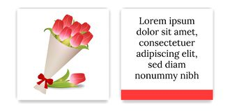 Greeting Card or Party Invitations with Bouquet of Tulips. Bouquet of Red Tulips in Paper with Red Bow. Front Side and Backside. Place for Text. Vector royalty free illustration