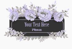Greeting card with pastel violet poppies vintage Royalty Free Stock Photography