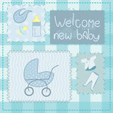 Greeting card in patchwork style for newborn boy Stock Photos