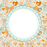 Greeting Card pattern with bows and hearts.  Stock Image