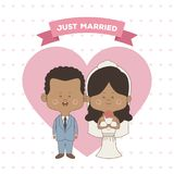 Greeting card pattern of hearts of just married couple bride and groom of skin brunette. Vector illustration Royalty Free Stock Image