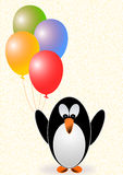 Greeting card with a penguin with balloons Stock Photo