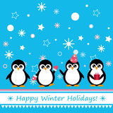 Greeting card with penguin. Winter congratulatory poster with cartoon penguins and snowflakes royalty free illustration