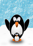 Greeting card with 2 penguins Royalty Free Stock Photo