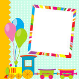 Greeting card with photo frame and cartoon train Stock Photos