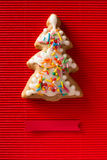 Greeting card with a picture of a cookie Christmas tree Stock Images