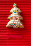 Greeting card with a picture of a cookie Christmas tree Royalty Free Stock Image
