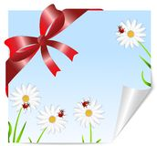 Greeting-card with the picture of flowers and red bow. Vector illustration Stock Images