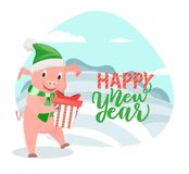 Greeting Card with Pig Wishing Happy New Year vector illustration