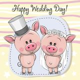 Greeting card Piggy Bride and Piggy groom Royalty Free Stock Photos