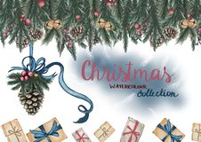Greeting card. Pine cone with a ribbon, gift boxes and decorated pine branches on the top. Christmas mood. Hand drawn water color illustration. Greeting card stock illustration