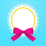 Greeting card with  pink bow. Frame with glossy bow on pink striped background Royalty Free Stock Photo
